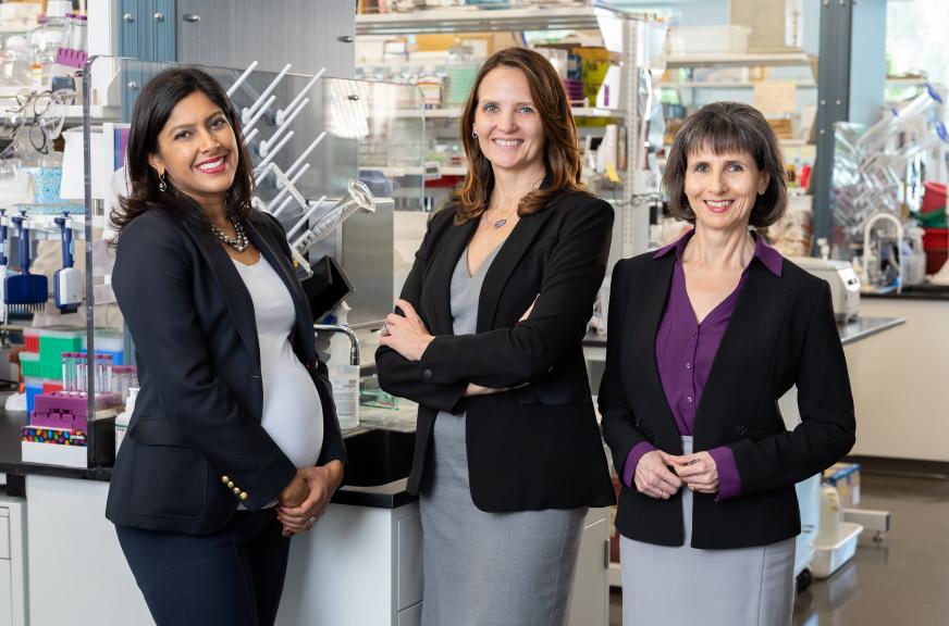 Image: Three female employees inside BioMarin laboratory